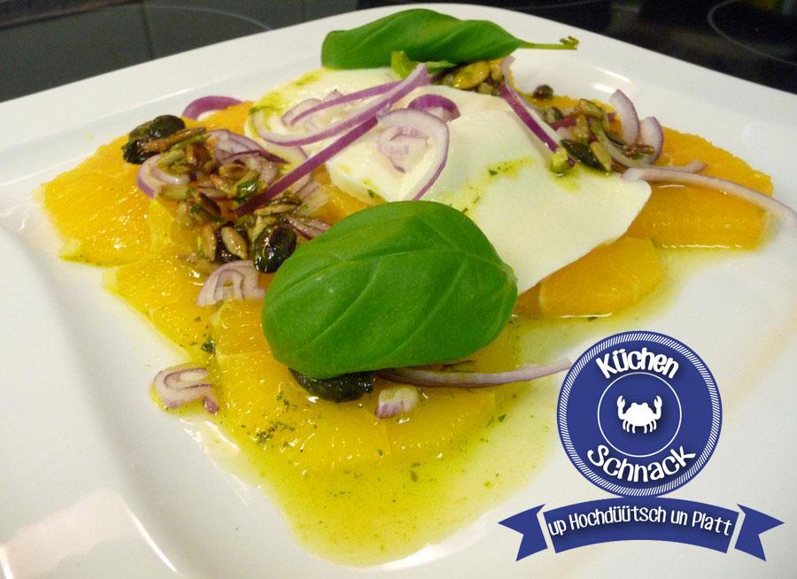 Orangen-Carpaccio mit Mozzarella und Sonnenblumen-Kern-Vinaigrette